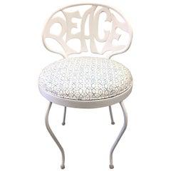 White Metal Peace Back Vanity Chair by Kessler