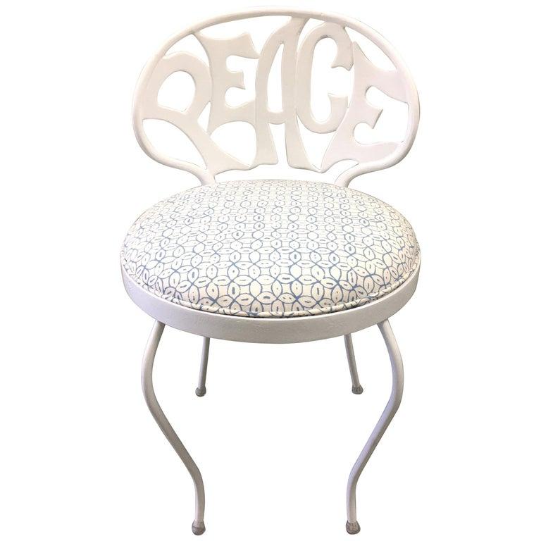 White Metal Peace Back Vanity Chair By Kessler For