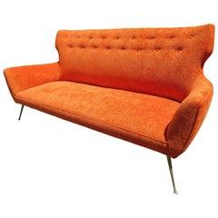 Stunning Italian Midcentury Gio Ponti Inspired Sofa with Brass Legs