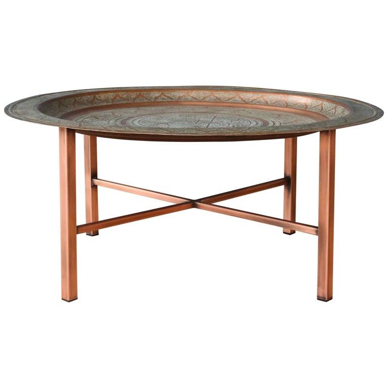 Coffee Table Copper Tray: Antique Copper Tray Table At 1stdibs