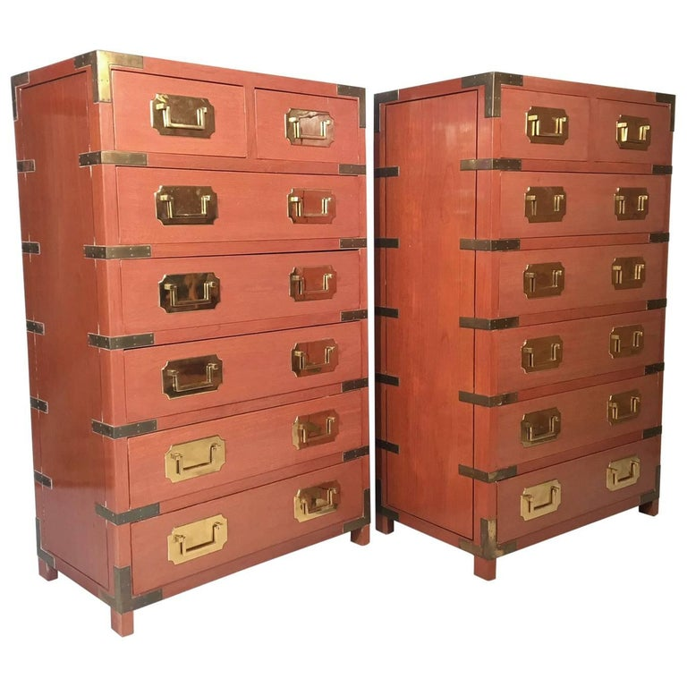 Pair of Vintage Rosewood Campaign Dressers by George Zee & Co.