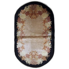 Handmade Antique Oval Chinese Art Deco Rug, 1920s