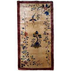 Handmade Antique Chinese Art Deco Rug, 1920s