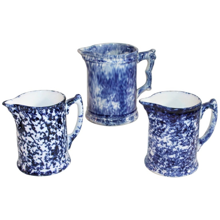 19th Century Sponge Ware Water Pitchers