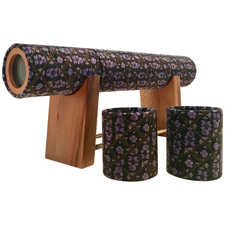 1970'S Wood & Velvet Kaleidoscope and Stand Set/5 By, Craig Huber For Sale