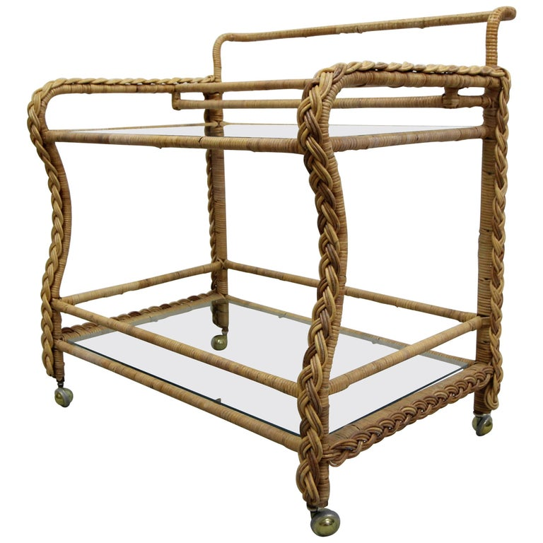 Vintage Braided Wicker and Glass Two-Tier Rolling Bar Cart