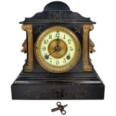 Victorian Ansonia Clock Company Mantel Clock with Bronze Mounts Dated 1882