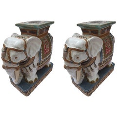 Pair of Chinese Ceramic Elephant Garden Stools