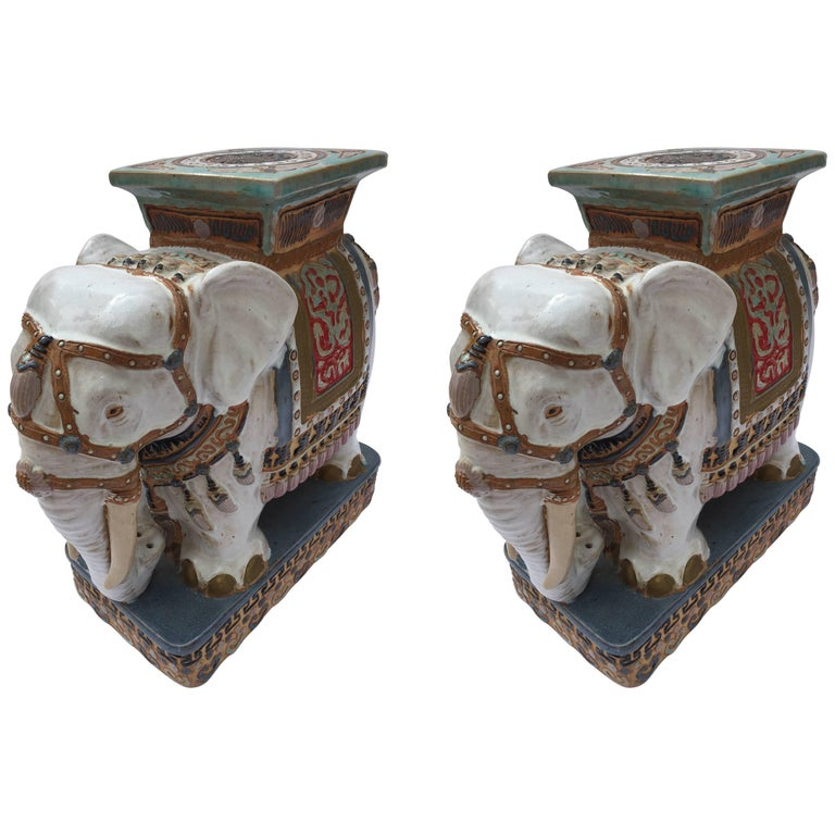 Pair of Chinese Ceramic White Elephant Outdoor Garden Stools