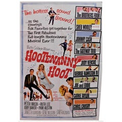 """Hootenanny Hoot"" 1963 Folk Rock Music Original Movie Poster Johnny Cash"