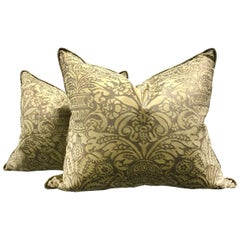 Pair of Vintage Campanelle Pattern Fortuny Pillows