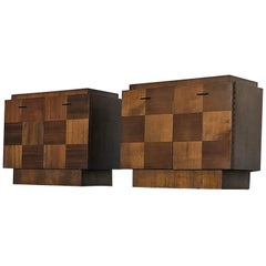 Pair of Lane Staccato Collection Brutalist Nightstands