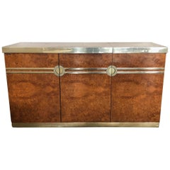 1970s Pierre Cardin Burl Walnut and Brass Credenza Drybar
