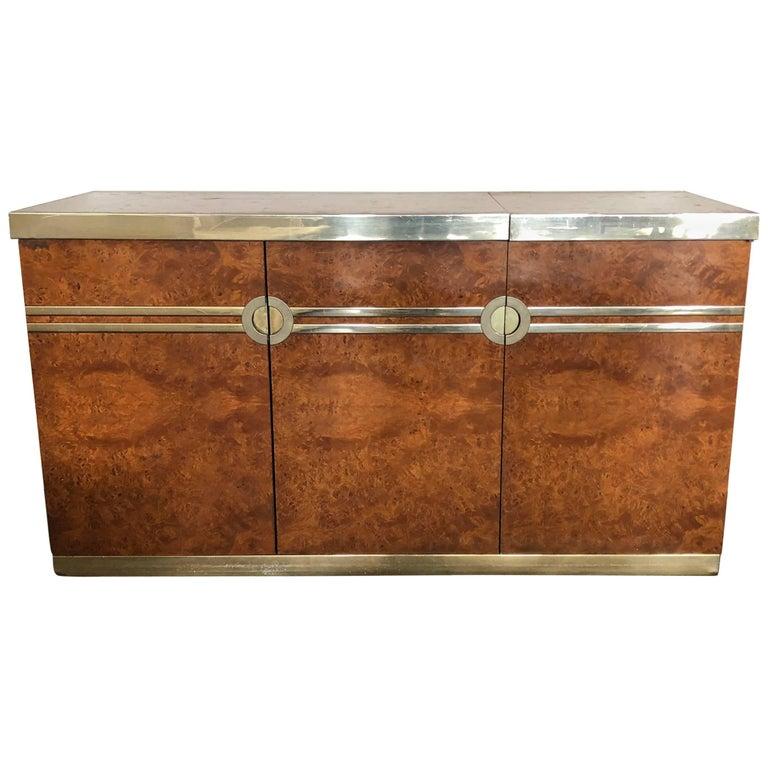 1970s Pierre Cardin Burl Walnut and Brass Credenza Drybar