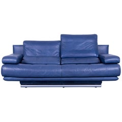 Rolf Benz 6500 Designer Leather Sofa Blue Two-Seat