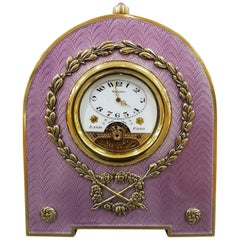 Sterling Silver Italian Table Clock with Translucent Enamel on Guillochè
