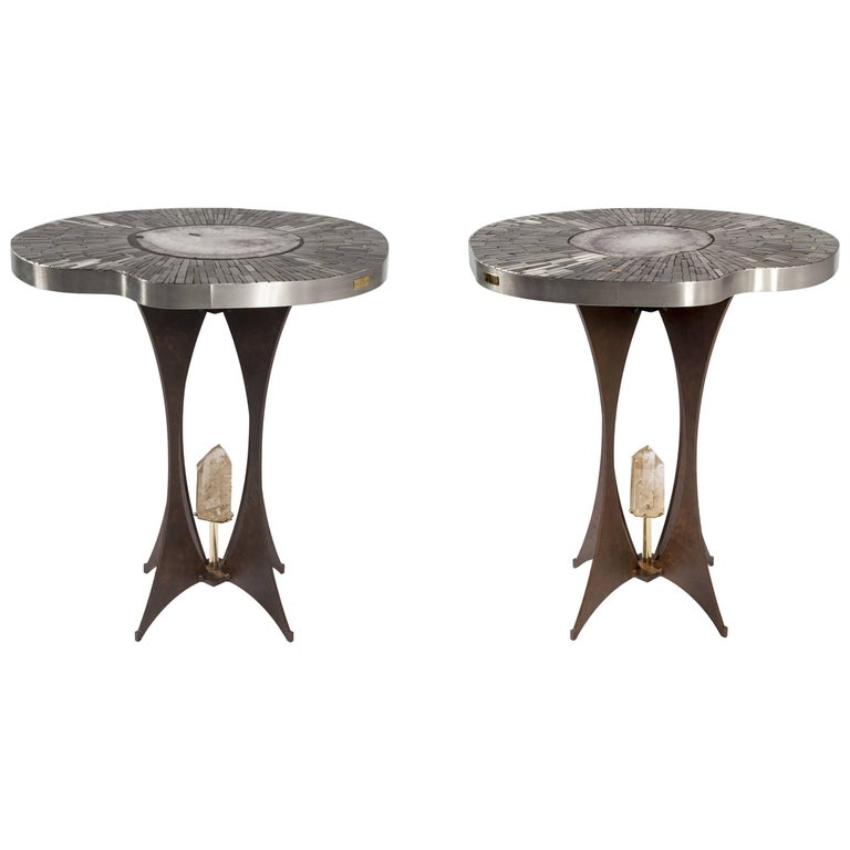 Pair of Pedestal Table in Mosaic and Gemstone by Stan Usel