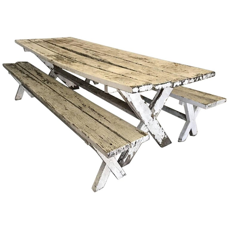 Antique Oak French Farm Garden Table and Two Benches, Original