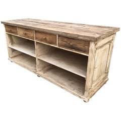 Long Antique Oak French Farmhouse Kitchen Counter, Vintage, Display