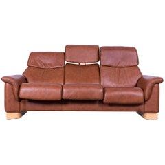 Ekornes Stressless Sofa Brown Leather Three-Seat Recliner