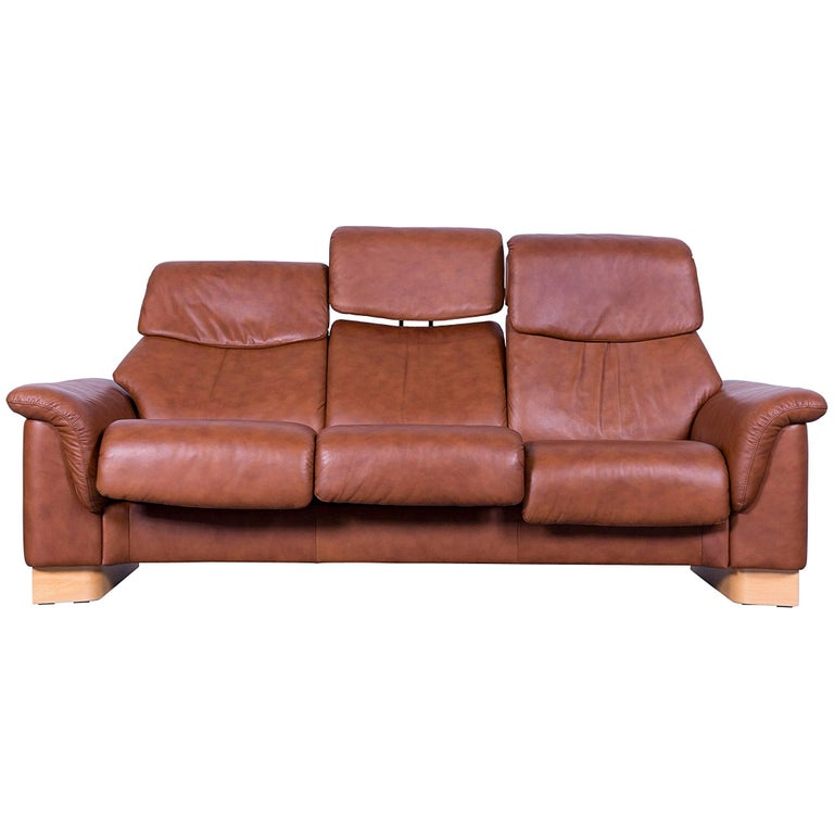 Ekornes Stressless Sofa Brown Leather Three-Seat Recliner