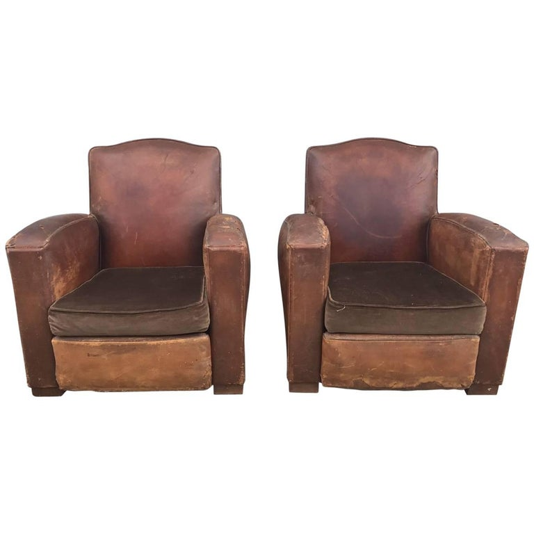 Beautiful French Leather Antique Club Chairs, Industrial, Vintage X2 For  Sale - Beautiful French Leather Antique Club Chairs, Industrial, Vintage X2