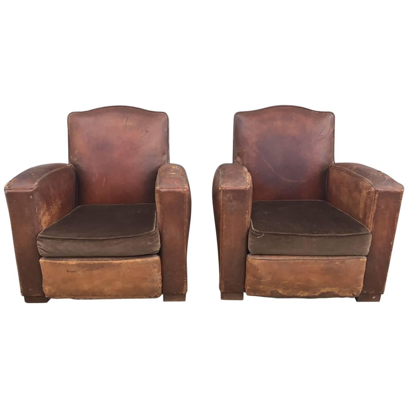 Beautiful French Leather Antique Club Chairs, Industrial, Vintage X2 For  Sale