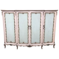 Rare French Antique, Vintage Original Paint Armoire, Four-Door, Suite