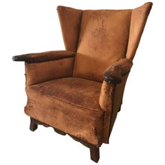 Rare Antique Rustic Vintage French Leather Club Chair, Industrial