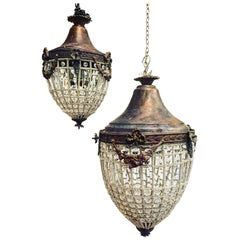 Antique French Chandelier, Vintage, Industrial