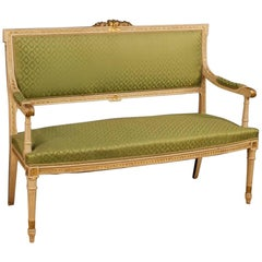 Italian Sofa in Lacquered and Giltwood in Louis XVI Style from 20th Century