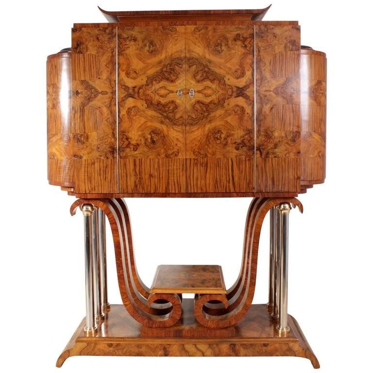 Italian Art Deco Cocktail Cabinet in Walnut