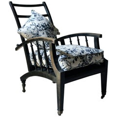 Ebonized & Upholstered Philip Webb for Morris & Co Reclining Armchair circa 1875