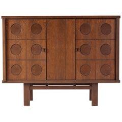 Midcentury Belgian Brutalist Oak Cabinet