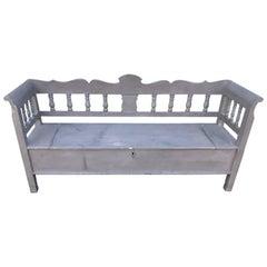 Beautiful Swedish Painted Bench/Settle, Storage Box, Painted