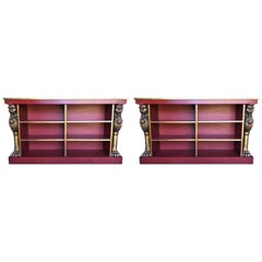 Pair of Custom Made 20th Century Bookcases with Carved Gold Gilt Lions
