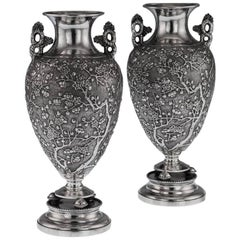 Antique Rare Chinese Export Solid Silver Pair of Vases, Wing Cheong, circa 1880