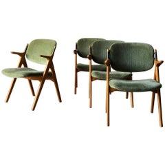 Scandinavian Modern Armchairs in Birch with Original Upholstery 1950s Vintage
