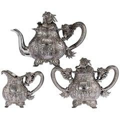 Antique Chinese Exceptional Solid Silver Tea Set, Qiu Ji, Hong Kong, circa 1890