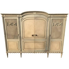 Rare French Antique Vintage Original Paint Armoire, Four-Door, Suite, Rattan