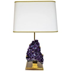 Vintage Amethyst and Brass Lamp Attributed to Willy Daro, Mid-Century Modern