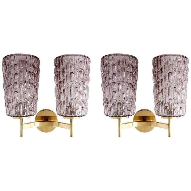 Sconces Wall Lights by Rupert Nikoll, Violet Textured Glass Brass, Vienna, 1950s