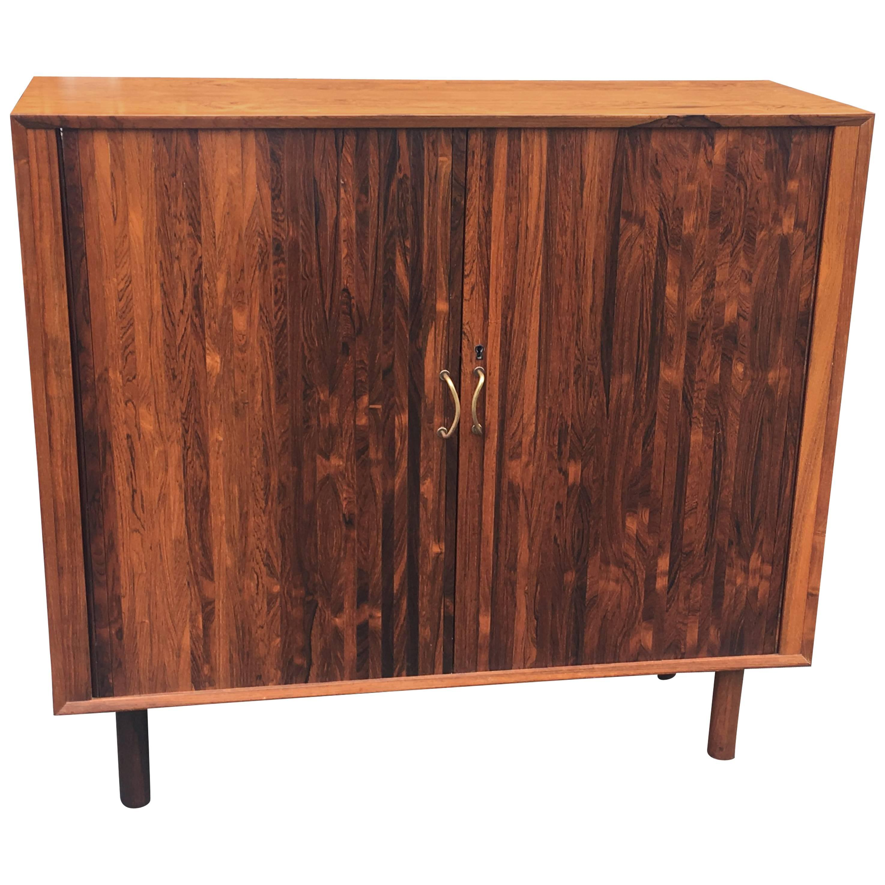Rosewood Midcentury Danish Tambour Cabinet For Sale