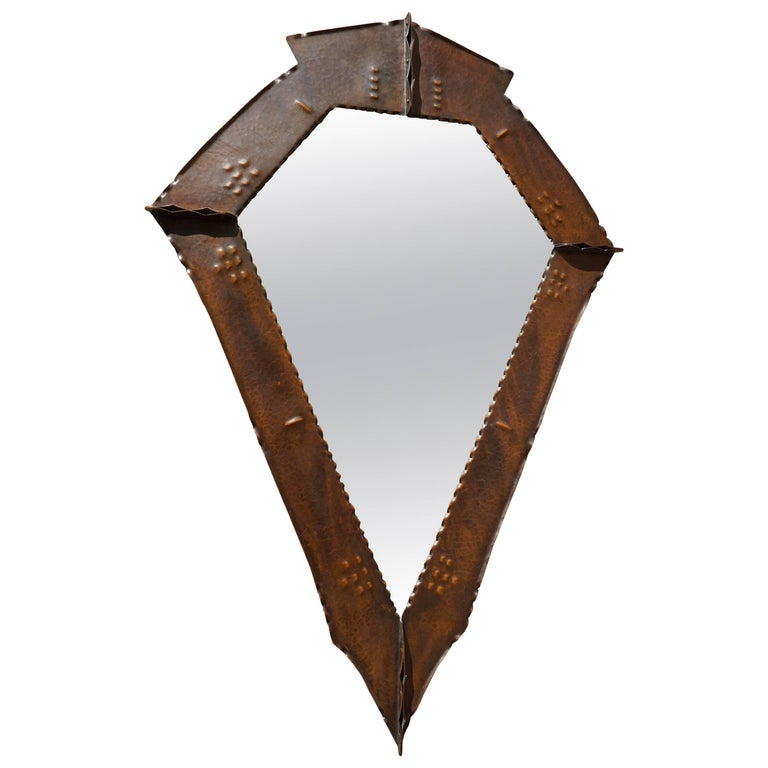 Stunningly Handcrafted Copper Arts & Crafts Wall Mirror, Early 20th Century