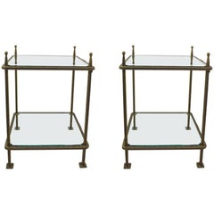 Pair of Bronzed Iron and Glass Tables by Claudio Rayes