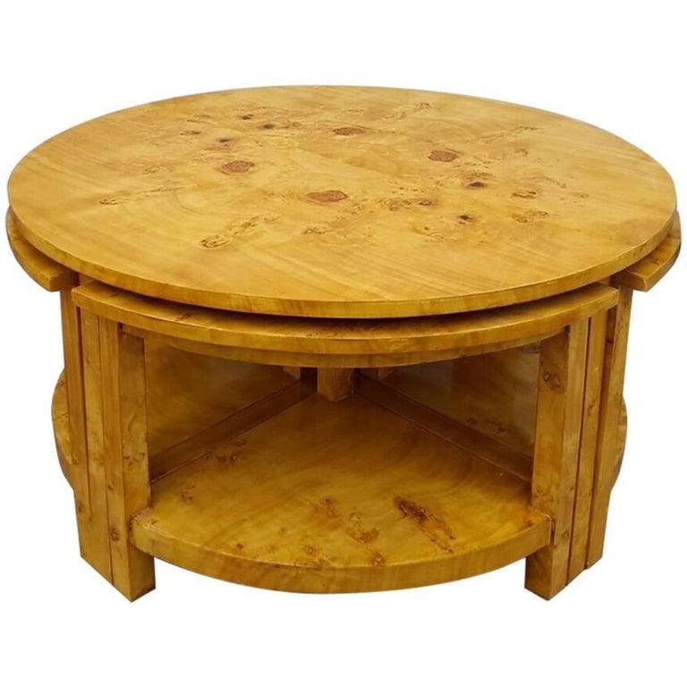 Stunning Walnut Art Deco Coffee Table, Nest, Rare, Antique, Vintage