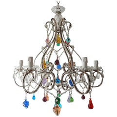 Italian Beaded Murano Colorful Fruit Chandelier, 1920