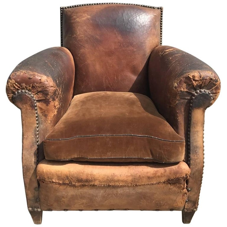 Beautiful French Leather Antique Club Chair, Industrial, Vintage For Sale - Beautiful French Leather Antique Club Chair, Industrial, Vintage For
