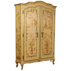 Venetian Wardrobe in Painted and Gilt Chinoiserie Wood from 20th Century