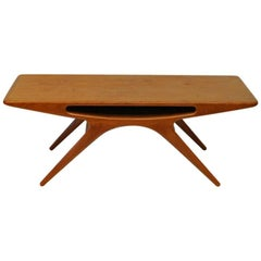 Teak Coffee Table Smiley by Johannes Andersen 1950s, Silkeborg, Denmark